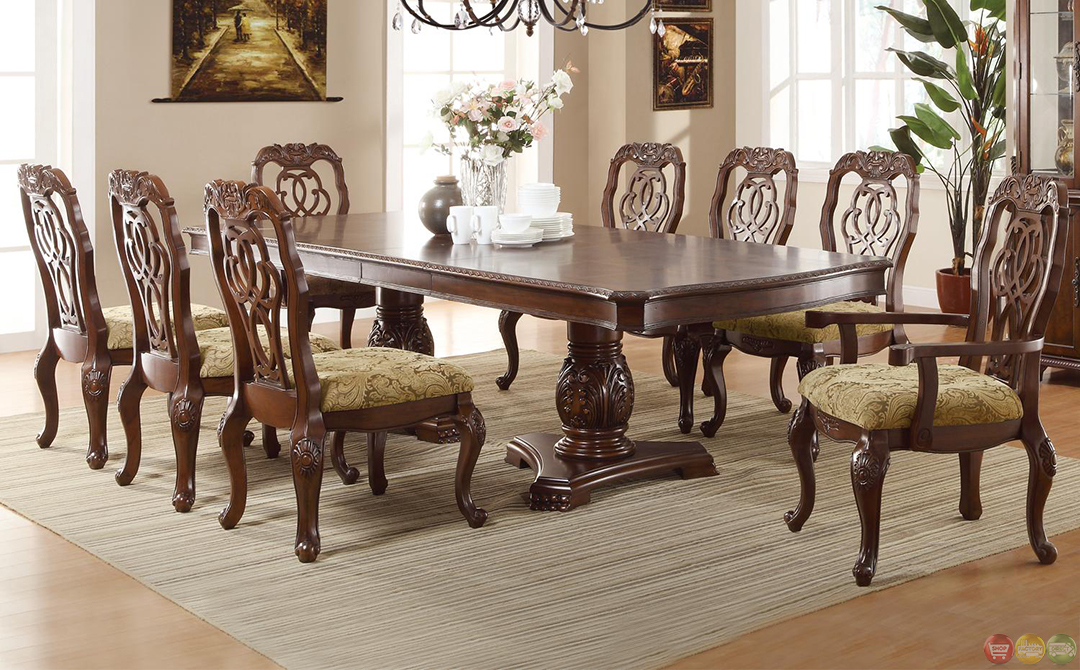 Marisol cherry finish formal dining room table set for Cherry formal dining room sets
