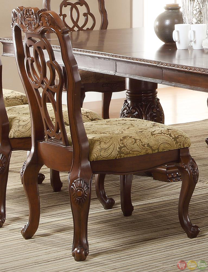 Marisol cherry finish formal dining room table set for Formal dining table