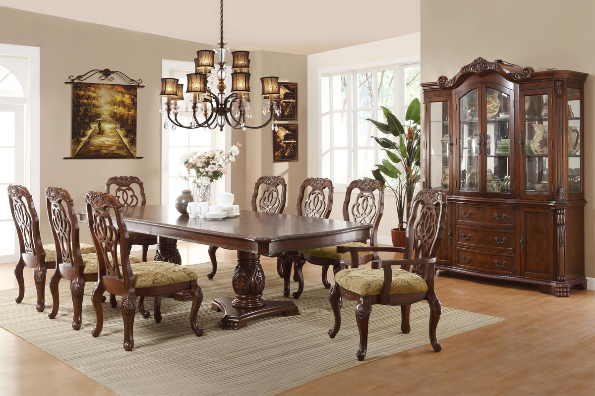 Marisol cherry finish formal dining room table set for Fancy dining room sets