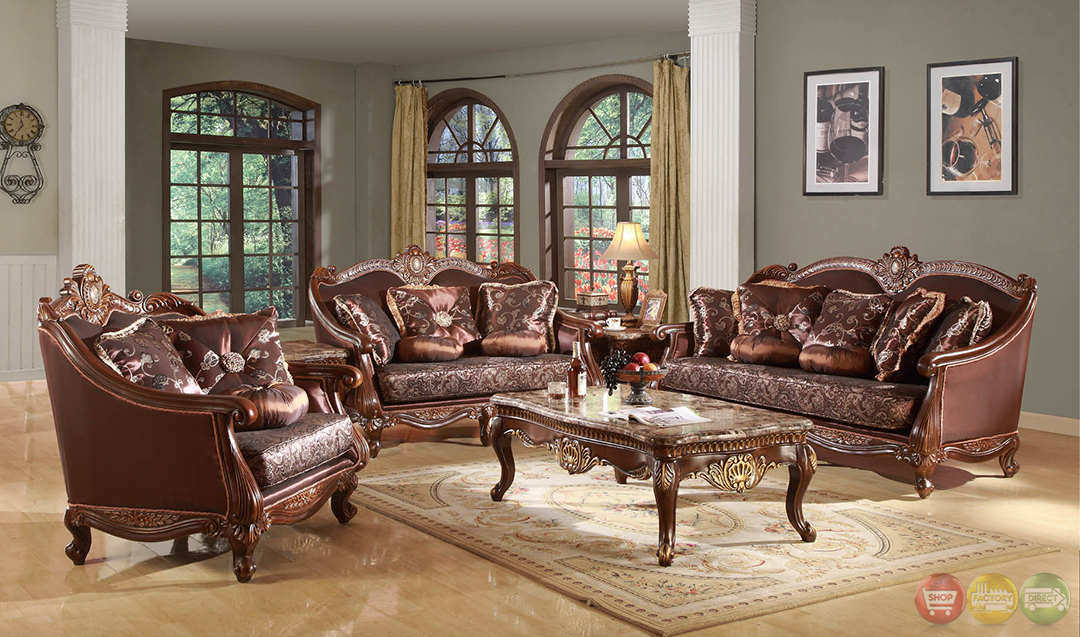Marlyn traditional dark wood formal living room sets with for Traditional living room furniture