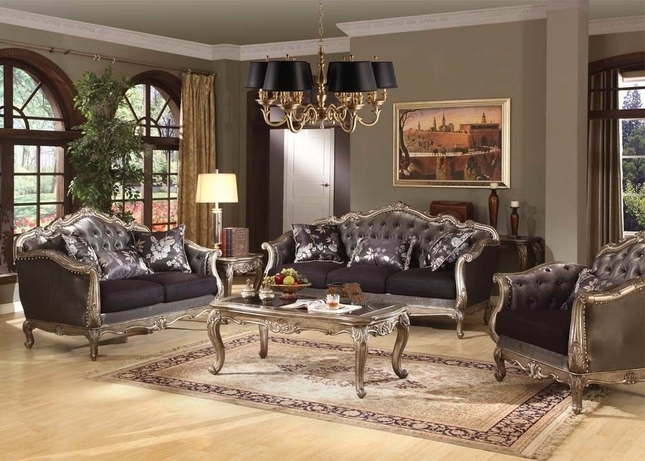 Chantelle French Rococo Formal Living Room Set Carved Wood Accents