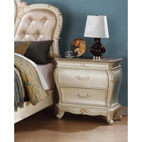 Marquee French Bombe 2-drawer Marble Nightstand Pearl White