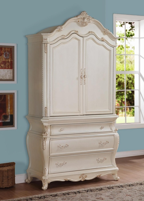 Bon Marquee French Bombe 3 Drawer Armoire Pearl White