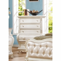 Marquee French Bombe 5-drawer Chest Pearl White