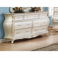 Marquee French Bombe 7-drawer Marble Dresser Pearl White