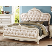 Marquee French Bombe Crystal Tufted King Bed Pearl White