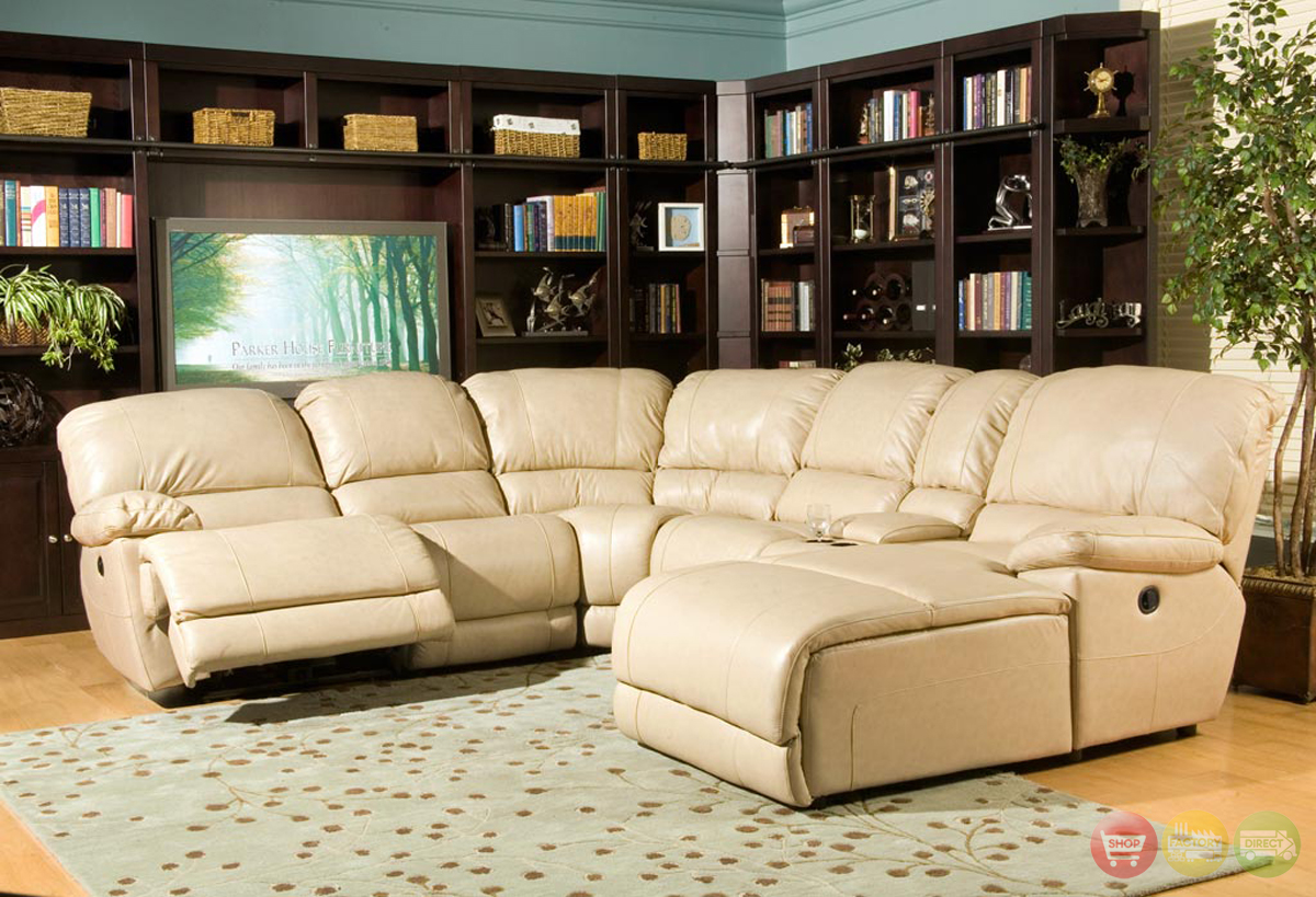 Power reclining 6pc leathersectional sofa w chaise parker living - Leather reclining sectional with chaise ...