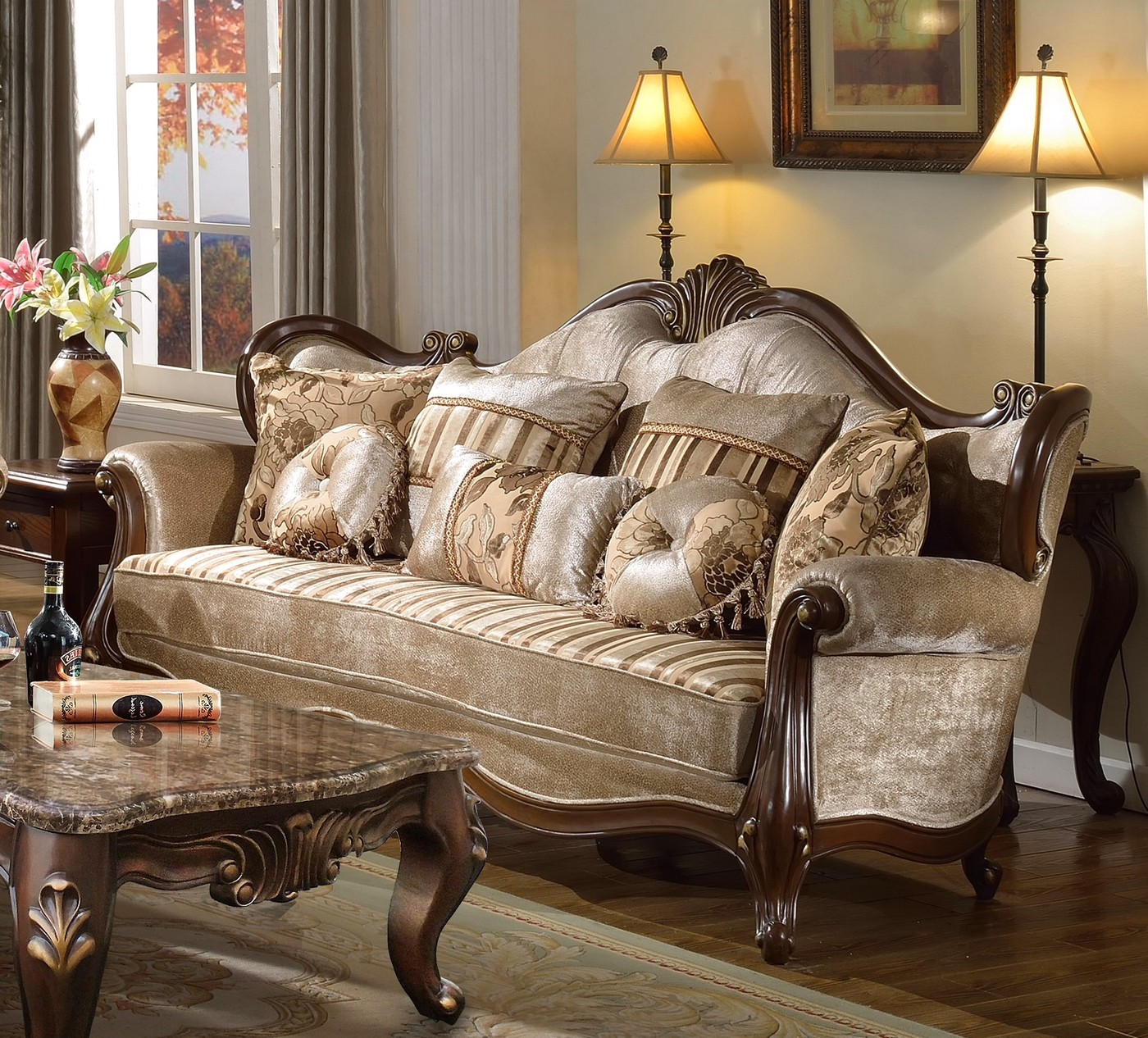 Marseille french provincial beige chenille sofa loveseat for French divan chair