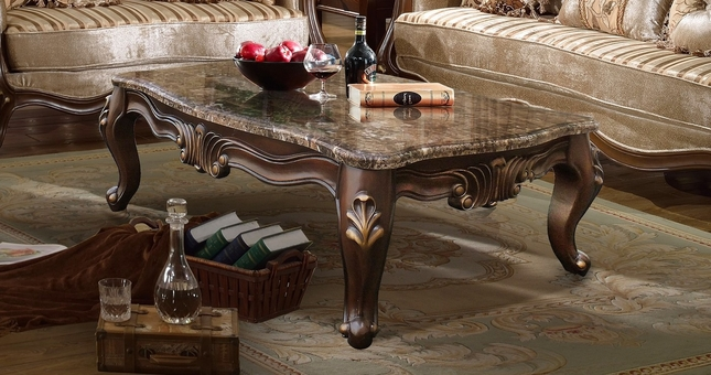 Marseille French Provincial Marble Top Coffee Table Dark Brown Finish
