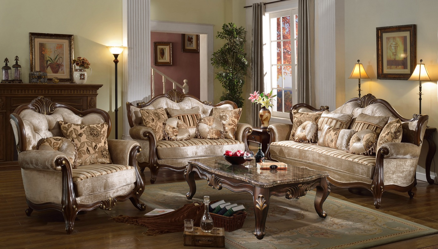 Marseille french provincial beige chenille sofa loveseat for Formal leather living room furniture