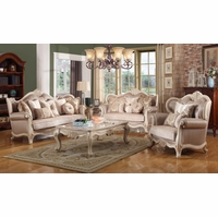 Marseille French Provincial Sofa U0026 Loveseat Set In Chenille U0026 Birch Wood