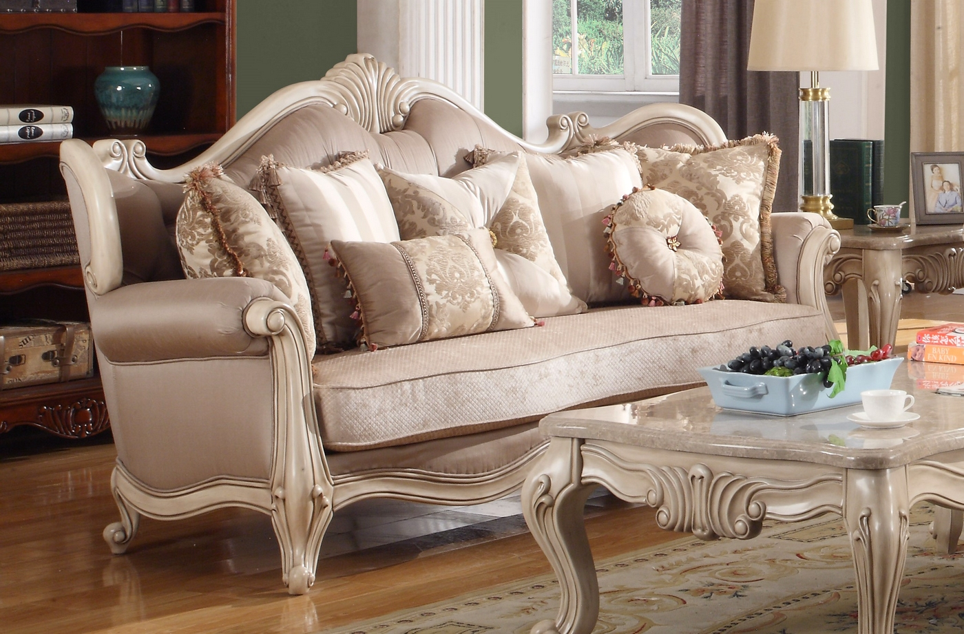 Marseille French Provincial Sofa Loveseat Set In Chenille Birch Wood