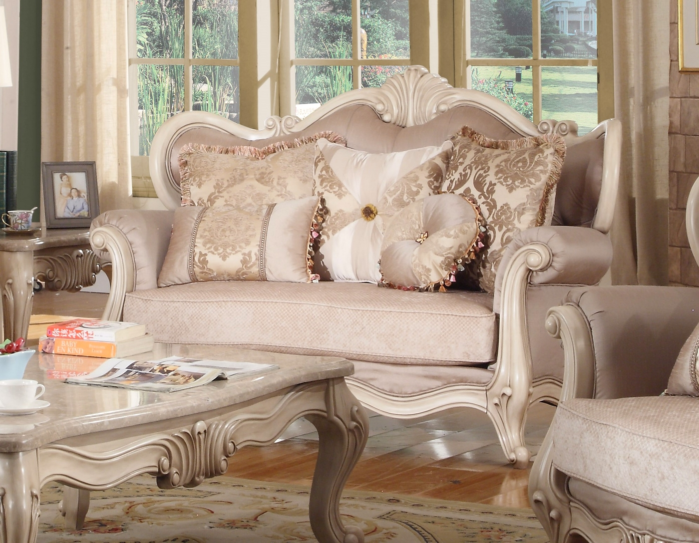 Marseille Antique White French Provincial Loveseat In