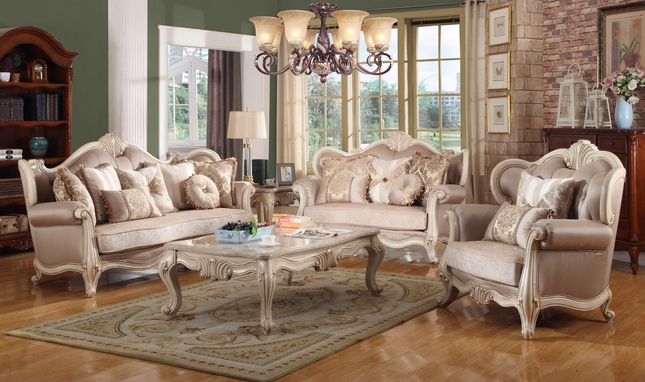 Marseille French Provincial Sofa & Loveseat Set In Chenille & Birch Wood