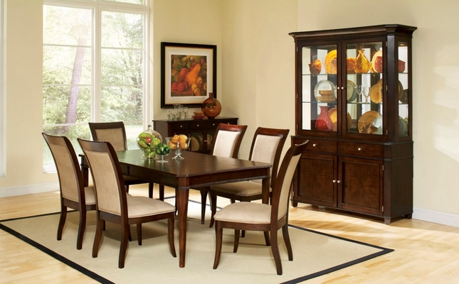 Transitional Ash Dining Table In Merlot Cherry