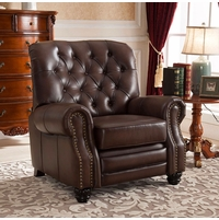 Marshall Traditional Top Grain Brown Leather Pushback Reclining Chair