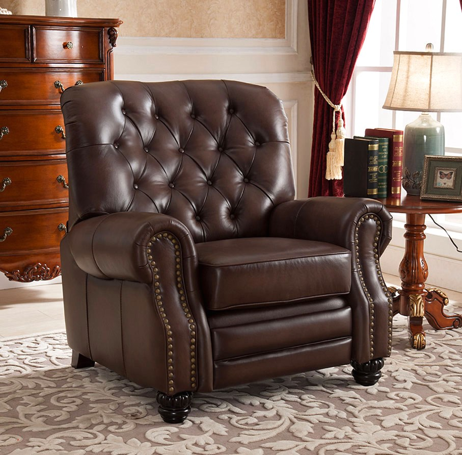 marshall traditional top grain brown leather pushback reclining chair. Black Bedroom Furniture Sets. Home Design Ideas