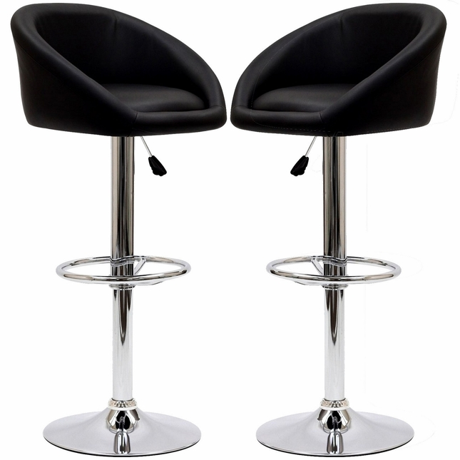 Marshmallow Modern Curbed Low-back Vinyl Bar Stool w/ Chrome Base, Black