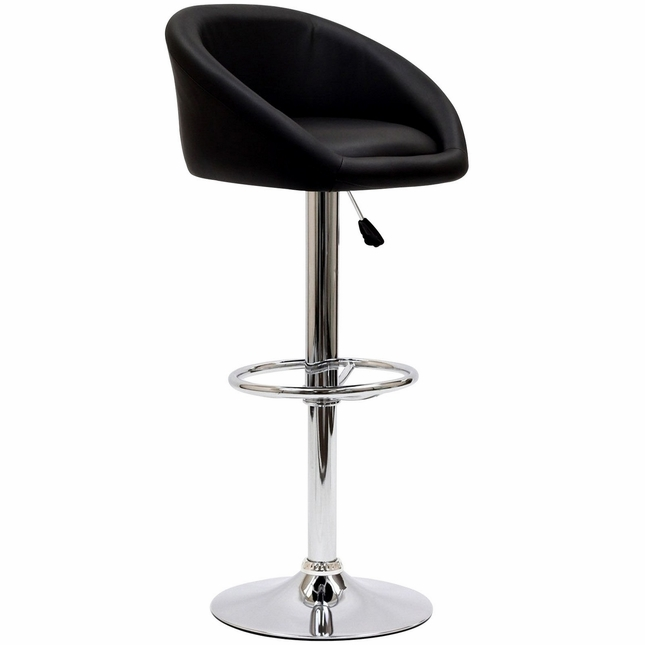 Marshmallow Vinyl Upholstered Bar Stool w/ Chrome Base & Foot Ring, Black
