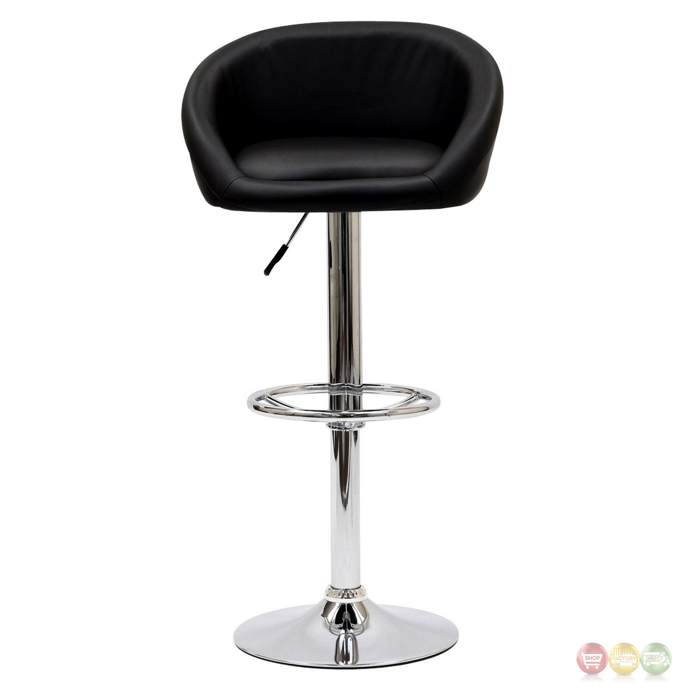 Marshmallow Vinyl Upholstered Bar Stool W Chrome Base