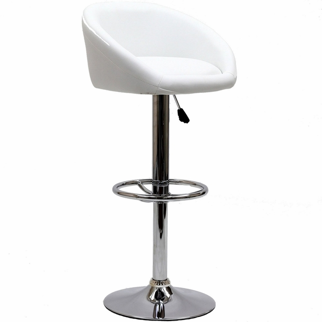 Marshmallow Vinyl Upholstered Bar Stool w/ Chrome Base & Foot Ring, White