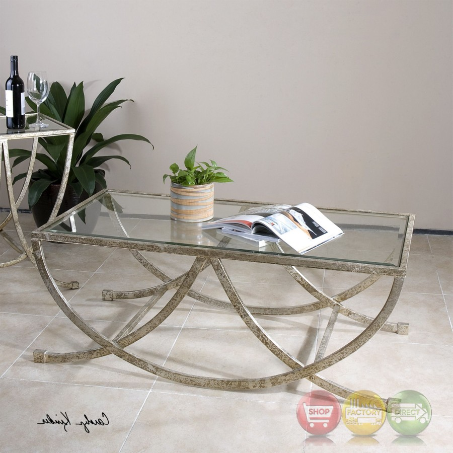 Curved Edge Glass Coffee Table: Marta Curved Coffee Table With Antiqued Silver Frame And