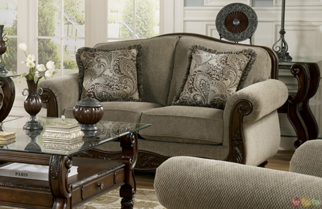 Martinsburg meadow wood trim chenille living room sofa set for Sitting room sofa set