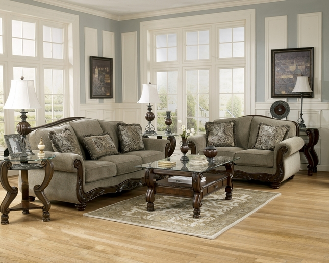 Martinsburg Meadow Wood Trim Chenille Living Room Sofa Set