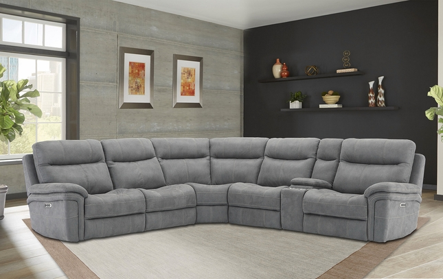 Mason Carbon Powered Modular Sectional Sofa w/ Power Headrest & Armless Recliner