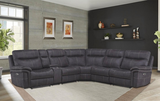 Mason Contemporary Charcoal Powered Modular Sectional Sofa w/ Power Headrest