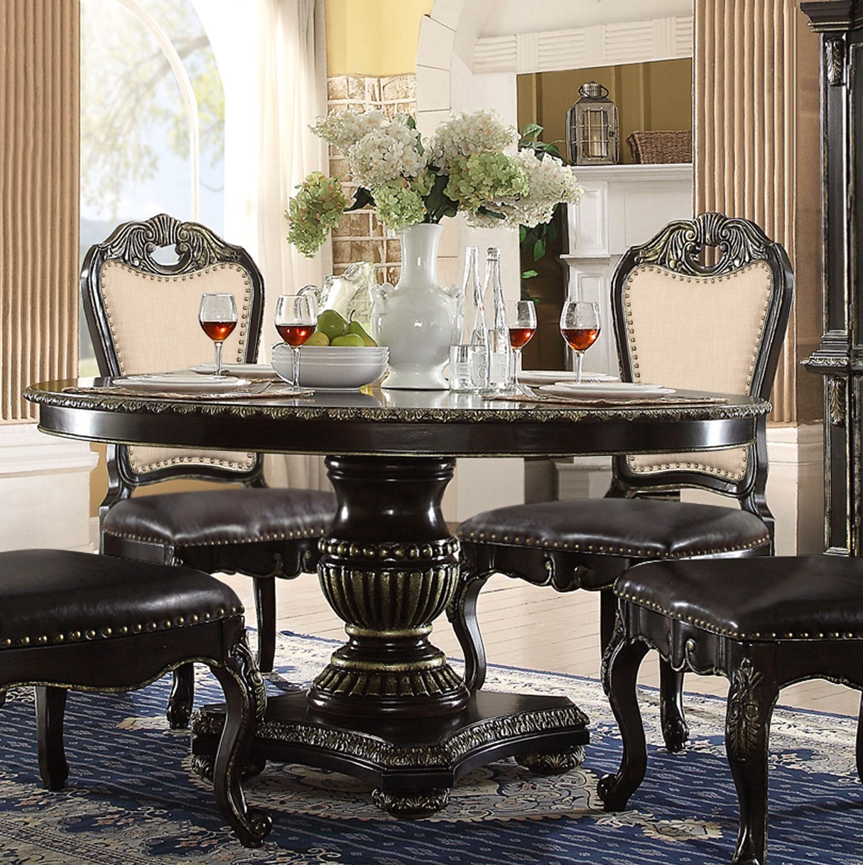 "Matteo 60"" Round Marble Gothic Dining Table In Ebony ..."