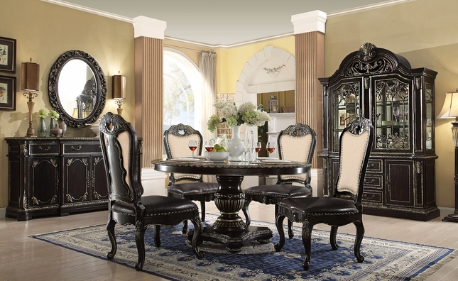 "Matteo 60"" Dark Round Gothic 5-pc Dining Set In Ebony & gold Finish"