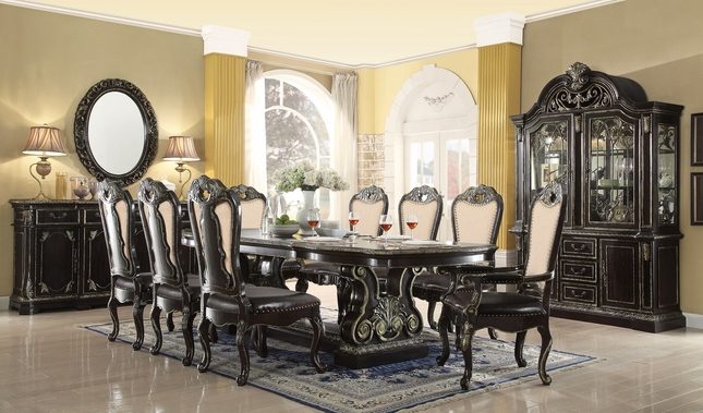 Matteo 88    112  Gothic Style 5 pc Dining Set With Extensions In. Gothic Style Furniture   Gothic Dining Room Furniture