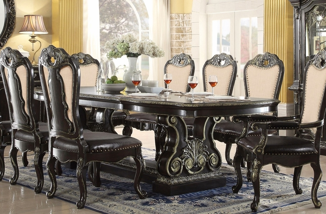 Double Pedestal Dining Room Table Set Ebony Dining Table