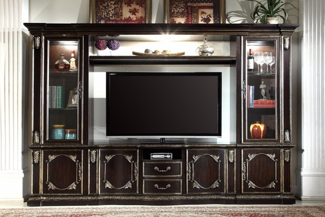 "Matteo Gothic 60"" Lighted Entertainment Wall Unit With Ebony & Gold Finish"