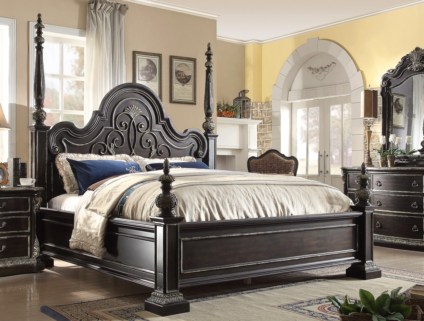 Matteo gothic style king poster bed in ebony finish with for Gothic style bed