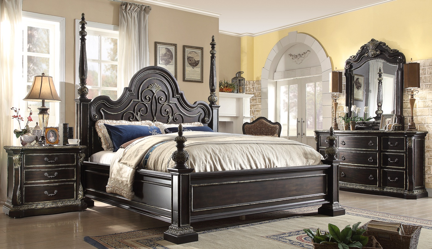 matteo gothic style 4 pc california king bed set in ebony 14688 | matteo gothic style 5 drawer chest in ebony finish with carved details 1