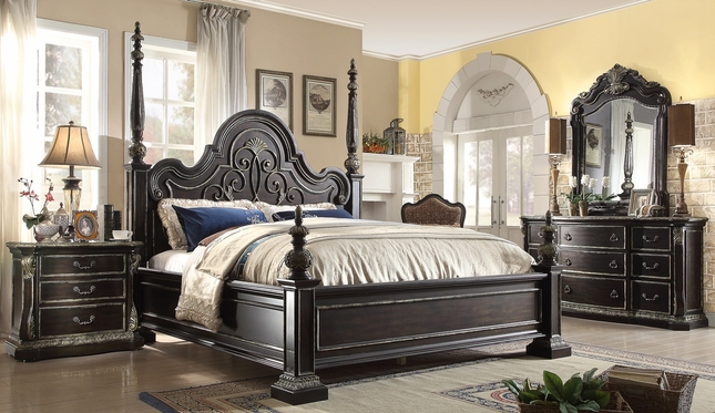 Matteo Gothic Style 4 Pc King Poster Bed Set In Ebony Finish With Carved  Details