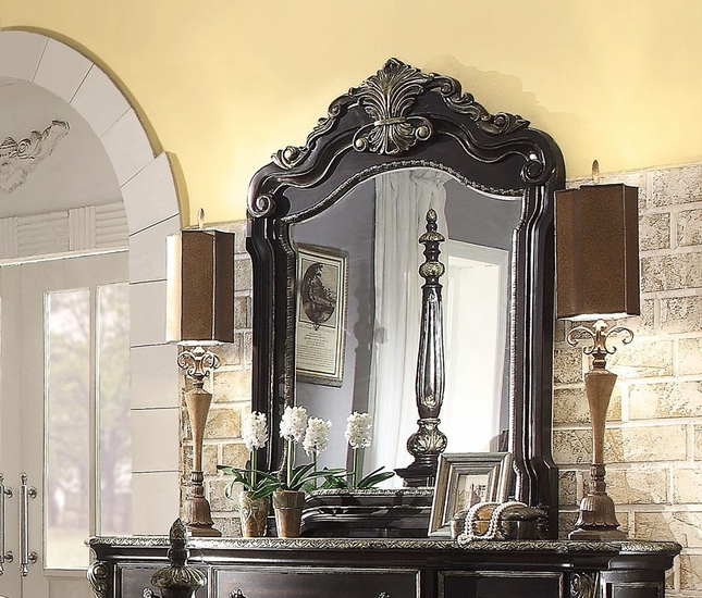 Matteo Gothic Style Luxury Mirror In Ebony Finish With Carved Details