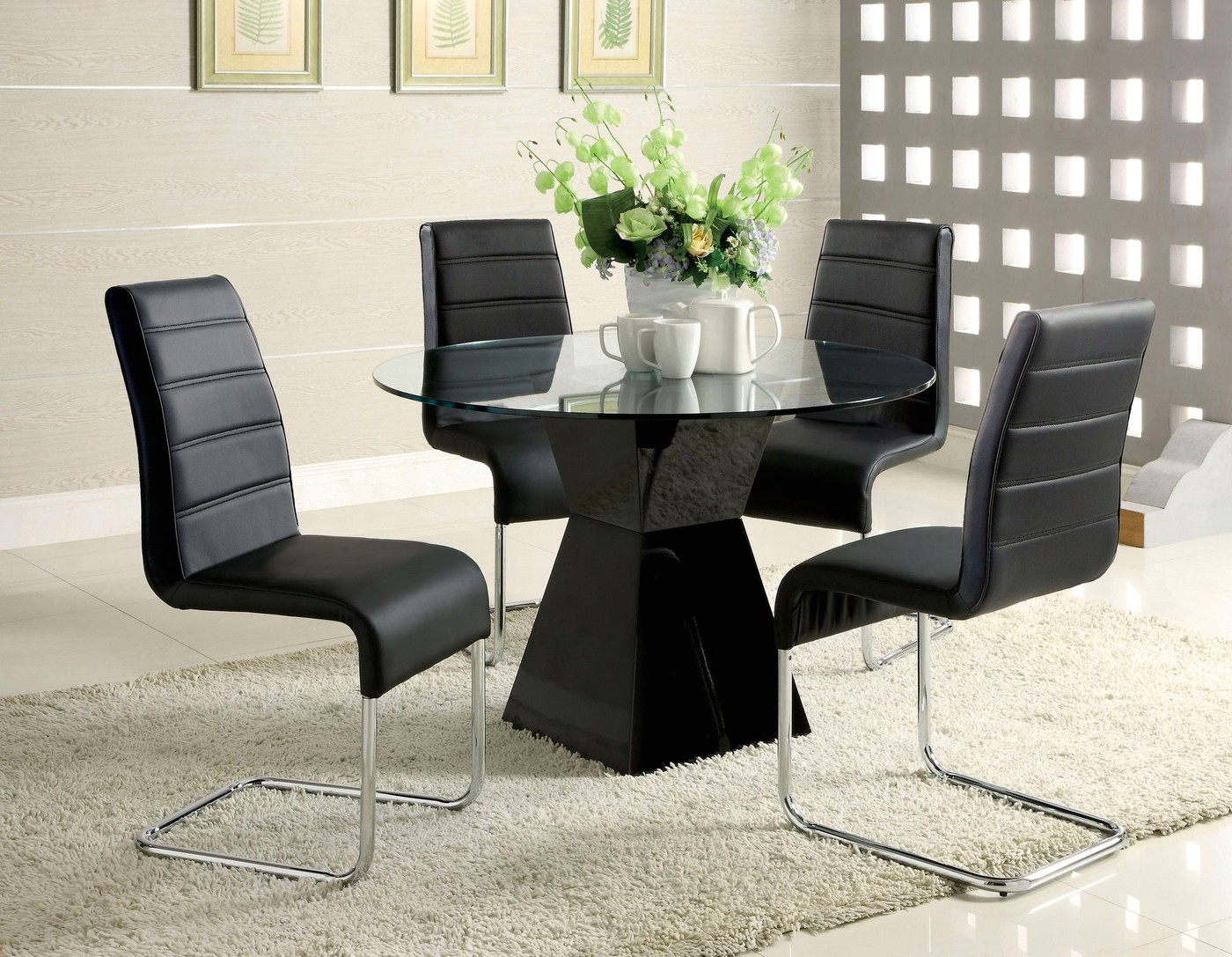 Mauna Contemporary Black Casual Dining Set With Square