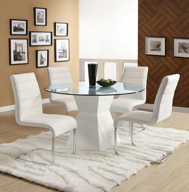 Mauna Contemporary White Casual Dining Set with Square Pedestal Design