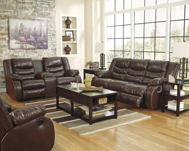 BenchCraft Linebacker Brown Motion Traditional Living Room Set w/ Storage Console