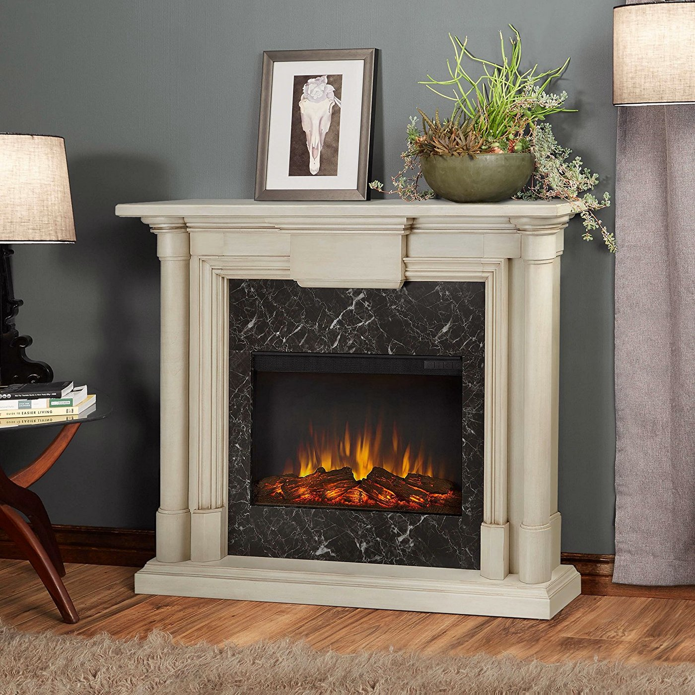 Maxwell Electric Heater Led Fireplace In Antique White, 4700btu, 48x40