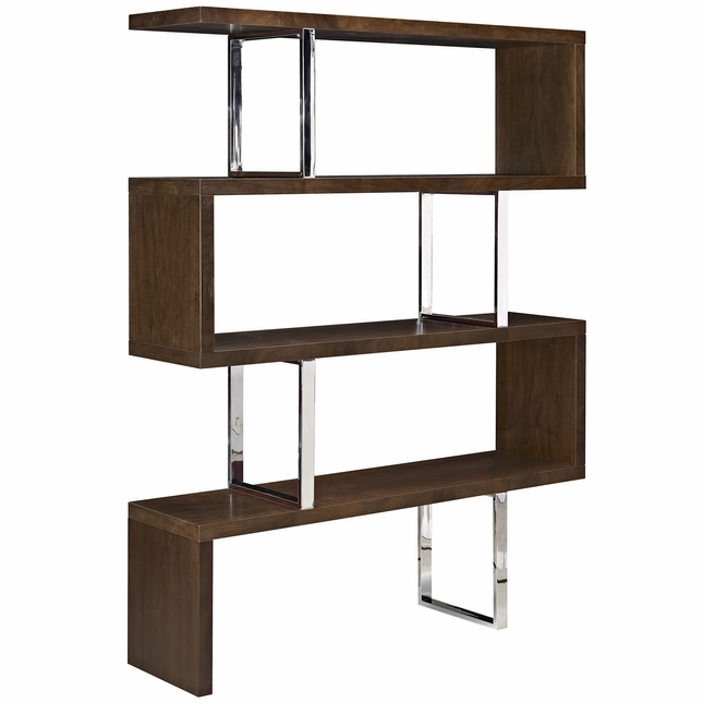 Meander Modern Book Stand With Wood-grain And Chrome Finish, Walnut