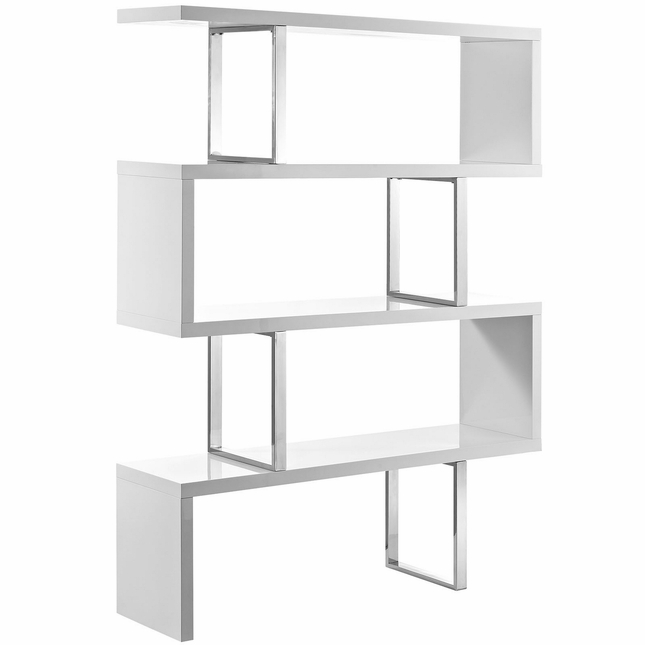 Meander Modern Book Stand With Wood-grain And Chrome Finish, White