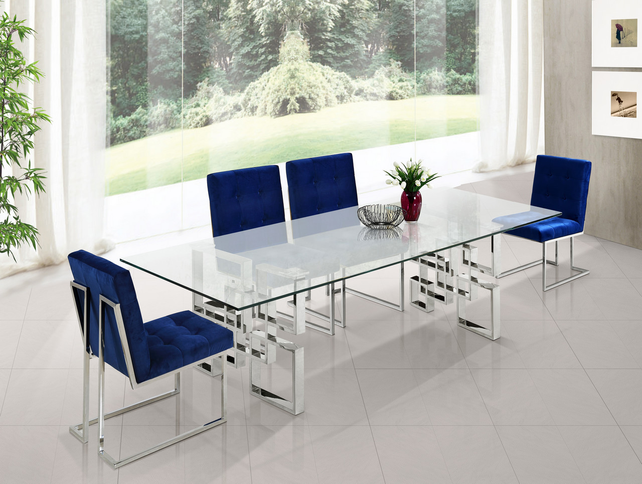Megan Modern Glass Top 78 Quot Chrome Dining Table With