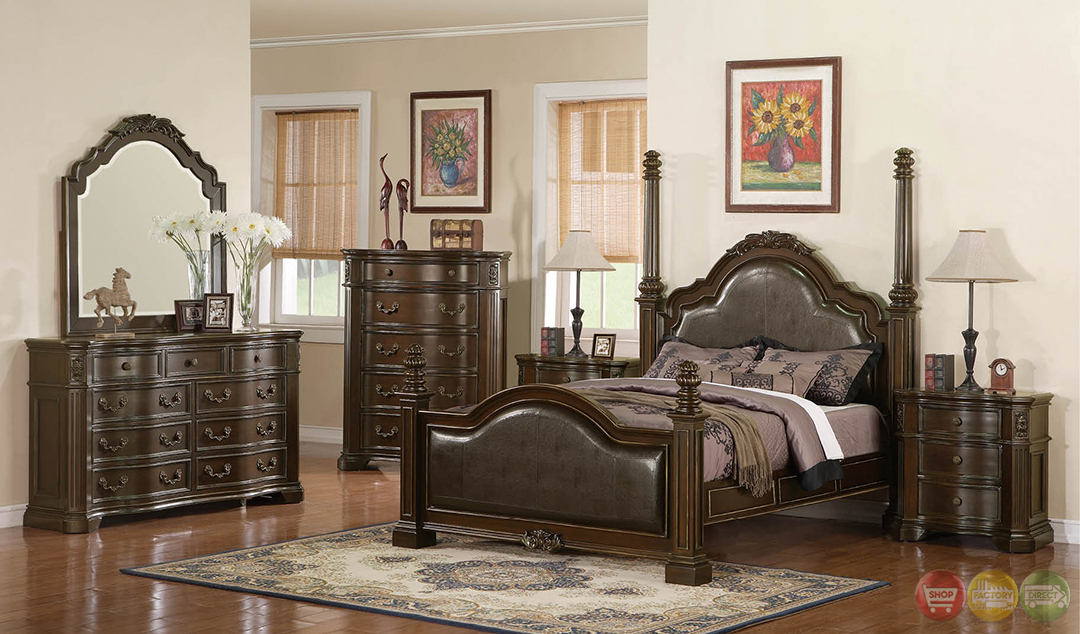 Melinda Traditional Cherry Poster Bedroom Set With Full Extension Glides Rpcmo12