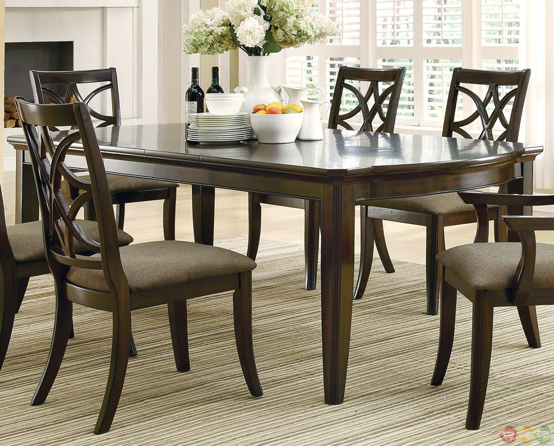 Meredith contemporary 7 piece dining room table and chairs for Contemporary dining room sets