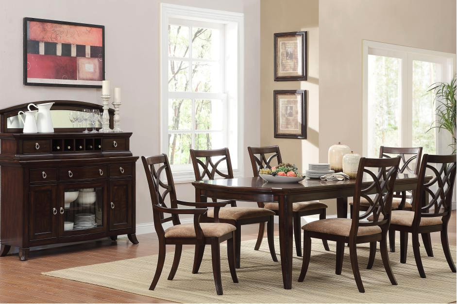espresso dining room sets | Meredith Contemporary 7 Piece Dining Room Table and Chairs ...