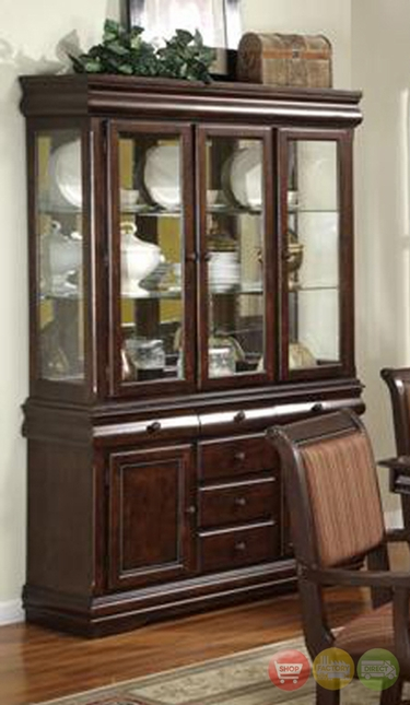 Wooden China Hutch ~ Merlot wooden china cabinet buffet and hutch formal dining